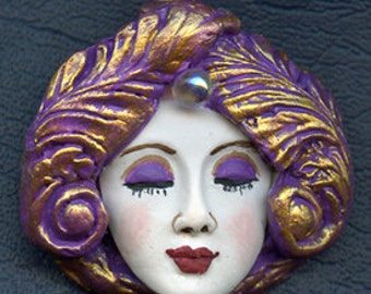 OOAK Polymer Clay One of a kind Detailed White  Face with Textured Hat ADF 1