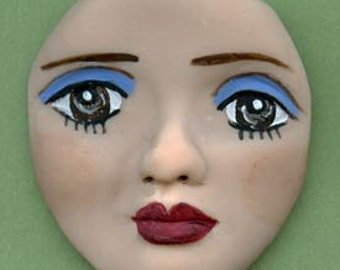 Polymer Clay 2 Inch  Art Doll Face  Un  Drilled FLFB 1