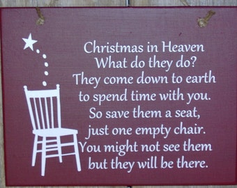 Christmas In Heaven Seat Chair Wood Vinyl Sign Season Greeting Holiday Memories Spirit Wall Hanging Ornament Giftware Unique Home Decor Art