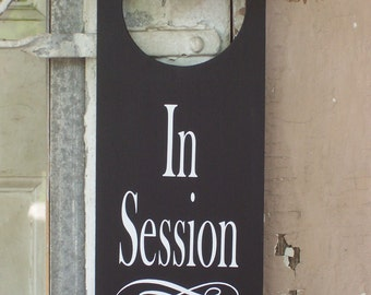 In Session Door Knob Hanger Wood Vinyl Sign Office Spa Salon Massage Therapy Business Supplies Decor Notice Message Modern Fabulous Office