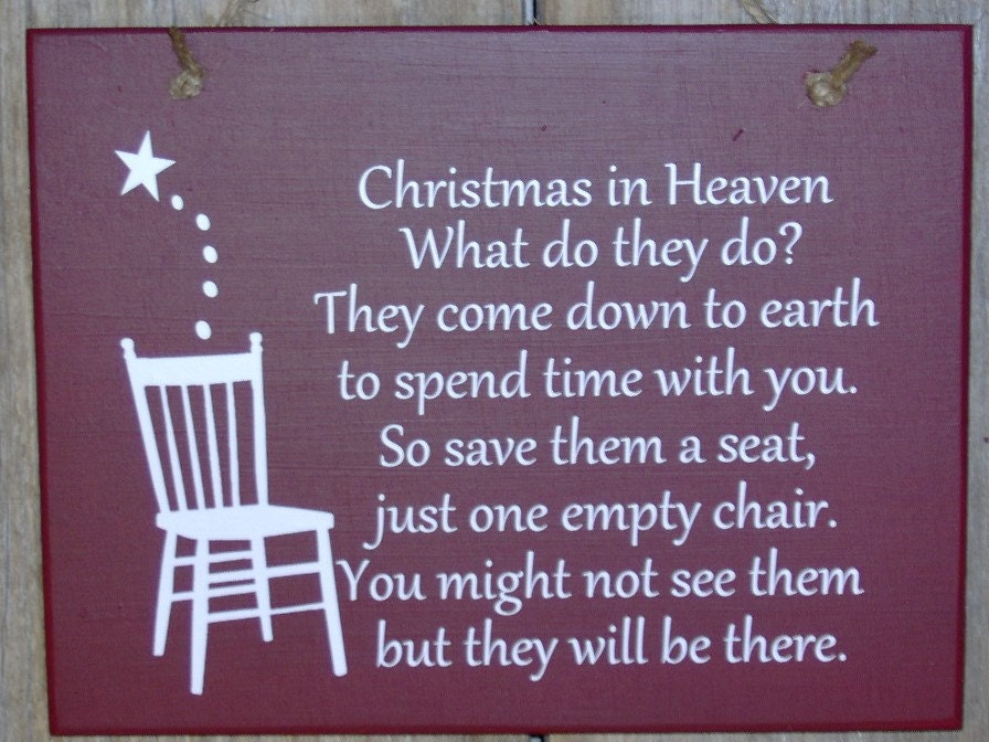 Christmas In Heaven Seat Chair Wood Vinyl Sign Front Door
