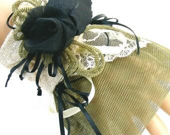 "Victorian ""Ebony Rose"" Wrist CUFF small-medium Handmade Silk, Netting, Lace for Role play, Dress, Mystery Dinners, Steampunk Costume"