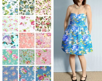 Custom Sweetheart, Strapless Dress with Pockets - Bright Floral Print Cotton Bridesmaid Dresses