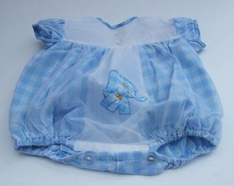 Sweet little boy or girl's Blue Gingham Check Romper Suit