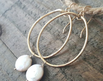 Gold Hoops, Coin Pearl and 14K Gold Filled Hoop Earrings, Pearl Earrings
