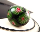 GORGEOUS Black Ancient Jatim Reproduction Bead, 20mm, Red White Green Millefiori, Smooth Rondelle, CUSTOMIZED Indonesian Java Bead MAJ39