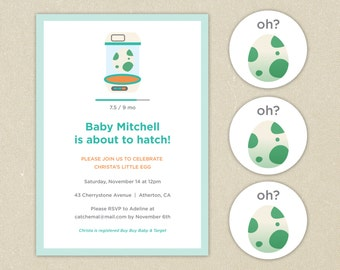Modern Pokemon Go Baby Shower Invitation & Cupcake Toppers