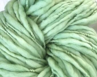 Yarn Handspun thick and thin, Bulky- SOUR APPLE - merino, crochet, knit, weaving yarn, craft supplies, doll hair, supplies 87yds.