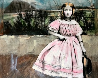 reserved for Candace rural painting vintage girl pink dress with hat portrait
