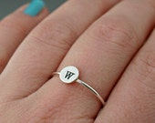 Initial Ring , Sterling Silver Ring , Personalized Jewelry