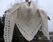 Alpaca Shawl, Hand Knit White Wool Wrap, Triangle Scarf, Bridal Shawl
