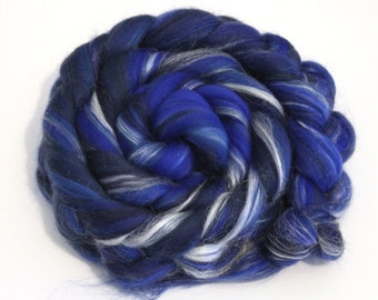 Merino Wool and Silk Blend Combed Top Deep Blues 100g