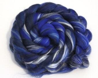 Merino Wool and Silk Blend Combed Top Deep Blues Fine Merino Fiber 50g 100g