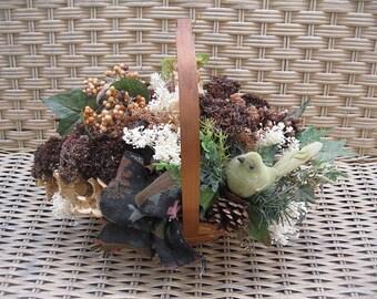 WiNTER BASKET number SEVEN natural  floral arrangement centerpiece  for the holidays and beyond