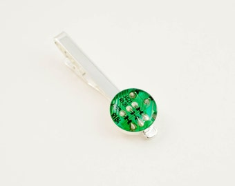 Circuit Board Tie Bar - Green Recycled Computer Tie Clip - Geeky Graduation Gift - Technology Jewelry