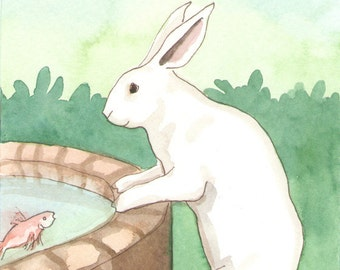 Original Art - Well - Watercolor Rabbit Painting