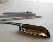 raw smokey quartz necklace, smoky quartz necklace, crystal pendant on copper chain, raw mineral stone