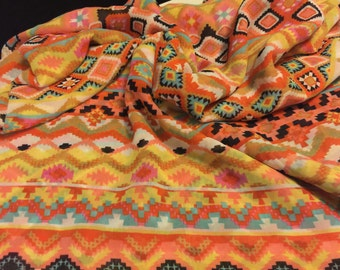 Chiffon Fabric  2 Yards Abstract Tribal