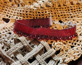Burgundy Red Loom Beaded Seed Bead  Bracelet Gothic Steampunk Wiccan Bead Cuff