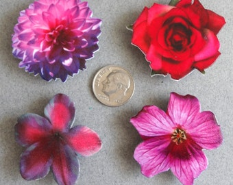 Red and Pink Flowers Magnet Set by Barbara Poland-Waters