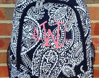 NEW Black Paisley Backpack Includes Monogrammed Name or Initials of Your Choice