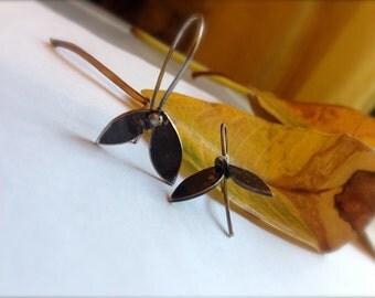 Oxidised Sterling Silver Leaves Earrings