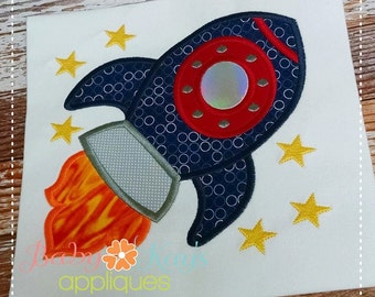 Rocket Ship Applique Design 4x4, 5x7, 6x10, 8x8