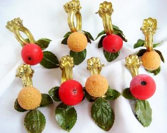 Set of (8) Clip Brass Cafe Curtain Rings with Spun Cotton Fruit Austria Apples Orange Pinch Matching 2154