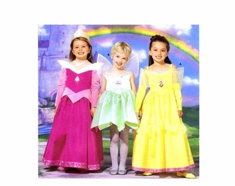 SALE Girls Disney Princess Aurora Belle Tinkerbell Costumes Simplicity 5835 Sewing Pattern Childrens Size 3 - 4 - 5 - 6 - 7 - 8 UNCUT