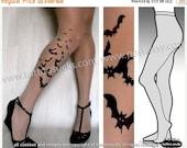 Sale/15%Off/EndsSep30/ l/xl sexy BATS tattoo tights / stockings/ full length / pantyhose / nylons LIGHT MOCHA