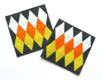 2 Geometric Halloween Felt Coasters