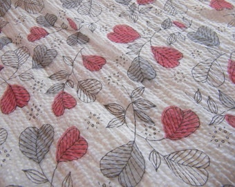 Vintage fabric with heart type flowers puckered sheer grey black red