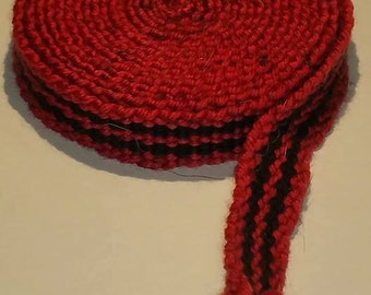 Handwoven Inkle Trim Black and Red Strap Band  SCA Dark Hoard Wool Blend
