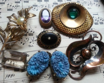 Repurpose Jewelry ... Brooches Shoe Clip ...  More. As Found.