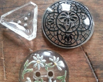 Three Lovely Vintage Glass Buttons. Reversed Carved, Other.