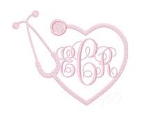 Nurse Stethoscope Embroidery Design Heart Monogram BX Instant download 4x4 5x7 6x10 PES