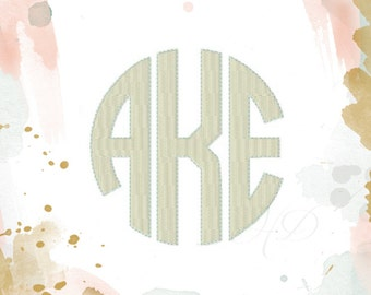 """4"""" inch Circle Monogram Font Classic Font Embroidery 4x4 Machine Embroidery Instant download   BX instant download"""