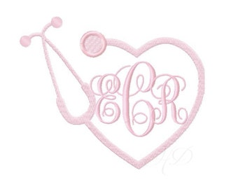 Nurse Stethoscope Embroidery Design Heart Monogram BX Instant download 4x4 5x7 6x10 PES
