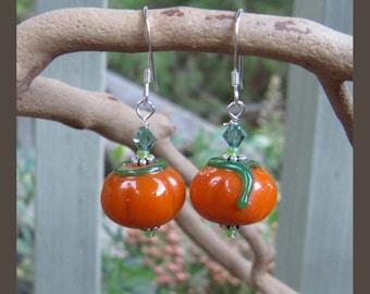 Lampwork Glass Fall Thanksgiving Pumpkin Earrings EHAG