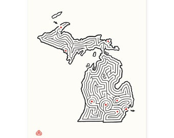"8x10"" MICHIGAN Maze Print 