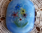 Handpainted Enamel Flowers Fused Glass Pendant With Black Silk Necklace