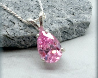 Pink Necklace, Bridesmaid Necklace, Sterling Silver, Bridesmaid Gift, Cubic Zirconia Necklace, CZ, Wedding Jewelry, October Birthstone SN910