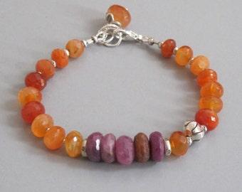 Fiery Carnelian Pink Sapphire Bracelet Sterling Silver Bead DJStrang Boho Cottage Chic Orange Pink Red Gemstone