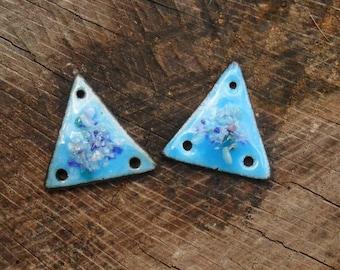 Blue Triangle Enamels, Artisan Handmade Earring  Components, Kiln Enameled 22 mm Tall.