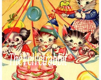 Birthday cake and all the kittens*O DARLING*Digital download instant*Sewing.ornaments,tags,cards