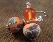 SALE Orange glass, flower polymer clay beads and silver handmade earrings