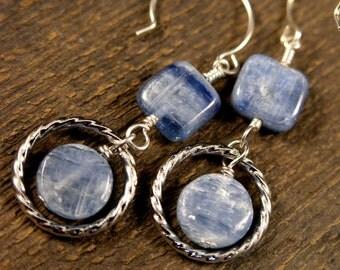 Kyanite frosty blue gemstones, twisted silver ring handmade earrings-last pair