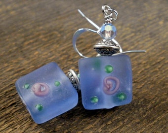 Frosted blue glass beads with pink roses, swarovski crystal and silver earrings