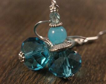 Turquoise blue swarovski crystal, jade stone and silver handmade earrings