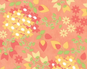 Sundrops - Bouquet in Coral Peach: sku 29010-16 cotton quilting fabric by Corey Yoder for Moda Fabrics - 1 yard
